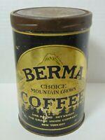 Vintage 1930s GRAND UNION BERMA COFFEE MOUNTAIN GRAPHIC COFFEE TIN 1lb NEW YORK