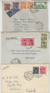 EGYPT 1937/46 3x commercial covers CAIRO-LONDON & PORT SAID-CHELTENHAM