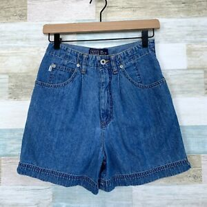 Old Navy Vintage 90s Pleated Mom Shorts Blue Jean Denim High Rise Womens 4 25x4