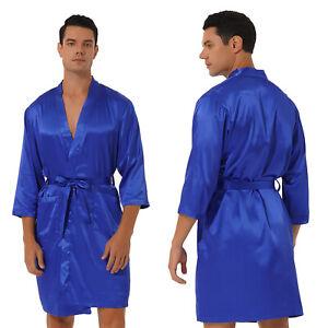 Herren Satin Bademantel Seitentaschen mit Taillengürtel Bademantel Nachtwäsc #L