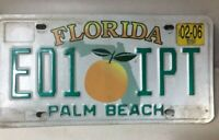 VINTAGE FLORIDA LICENSE PLATE - EO1-IPT - PALM BEACH - FEB 2006 TAG