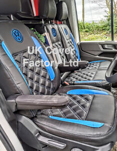 MADE 2 MEASURE VAN SEAT COVERS TRANSPORTER T5 T6 BLUE BENTLEY WITH LOGO