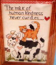 "Candamar Cross Stitch Kit ""Milk of Human Kindness Never Curdles"" Cow Cat Bird"