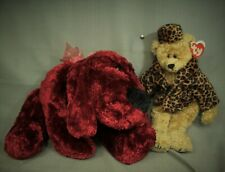 lot 2 red velvet color floppy plush toy dog Isabella Teddy Bear Leopard print