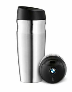 BMW Genuine Thermo Mug Thermos Travel Cup Logo On Cap Silver Black 80562211967