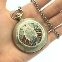 Russia Vintage Pocket Mens Watch MOLNIJA Retro Collectible MVD Belarus Chain Old