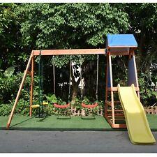ALEKO Outdoor Backyard Wooden Kids Playground Playset with Dual Swings, Slide