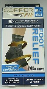Copper Fit Foot Relief Compression Ankle/Foot Support Size Medium Unisex