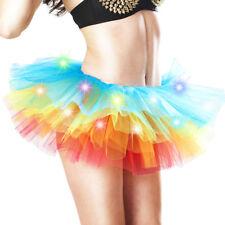 LED Light Up Neon Rainbow Tutu Fancy Dress Party Costume Adult Skirt Women