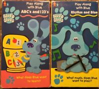 """Blue's Clues """"ABC's And 123's"""" & """"Rhythm And Blue"""" 2 VHS Lot Nickelodeon Nick Jr"""