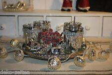 5 teil Set Windlichter Christmas Silber Bauernsilber  Glas Shabby  Vintage