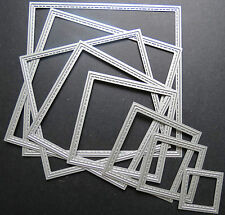 SQUARE METAL DIES SMALL SET OF 7 WITH STITCH EFFECT EDGE BRAND NEW