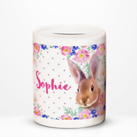 Personalised Bunny Rabbit Kids Children's Savings Money Box Gift Idea