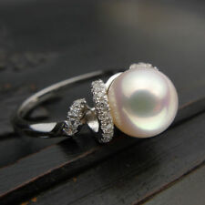 NATURAL PERFECT ROUND AAA+ 10-11MM AKOYA WHITE PEARL RING 8# + BOX