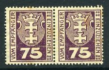 GERMAN DANZIG;    1921 early Postage Due issue fine Mint MLH Pair 75M.