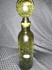 Vintage Rainbow Glass Mid Century Art Crackle Glass Decanter Green