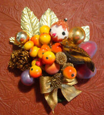 Fall Thanksgiving Corsage Handmade Vintage Elf Fruit Pinecones Balls Gold Leaves