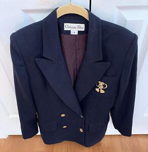 Christian Dior Blue Wool Blazer Jacket Women's Size 8 VTG? Please Read Descript