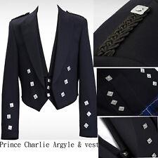 "Mixed Tropical WOOL Prince Charlie Jacket & waistcoat Vest- Black 50"" R"