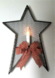 Rustic Metal Mesh STAR WALL SCONCE Flameless Candle Holder Distressed Black