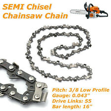 "16"" SEMI Chisel Chain for Stihl Chainsaw Bar 3/8 Pitch .043 Gauge 55 Driver Part"