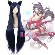 LOL Ahri NineTailed Fox Umi Sonoda Long Raide Noir Foncé Bleu Cosplay Perruque