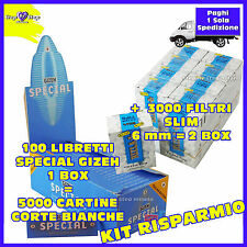 5000 Cartine CORTE SPECIAL Gizeh 1 BOX + 3000 filtri RIZLA SLIM 6mm 2 BOX