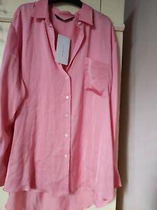 Oversized Zara Pink Satin Shirt S