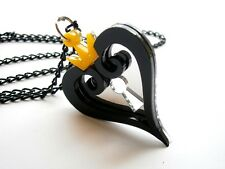 Kingdom Hearts Necklace Hearts Emblem Black and Yellow Acrylic