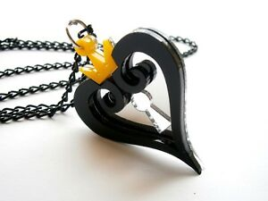 Kingdom Hearts Necklace Hearts Emblem Black and Yellow Acrylic Lasercut Pendant