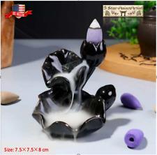 Ceramic Backflow Incense Cone Burner Holder Lotus WaterfallF 049& 10 Cones Gift