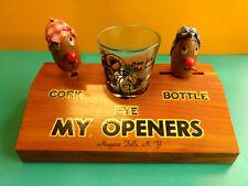 Wood Man Cave Home Bar Set Eye Shot Glass & Cork Bottle My Openers Niagara Falls