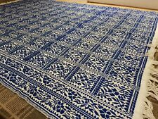 More details for  large tapestry throw rug blue white wool + cotton?? 232cm x162cm xllnt cndtn #2