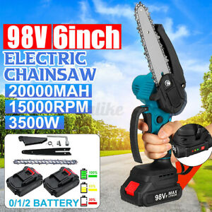 LED 3500W 98VF 6'' Cordless Electric Wood Cutting Saw Cutter Chainsaw 10000rpm