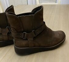 Ladies Winter UGG Boots Brown Leather Suede Glenn Size UK 5.5 5