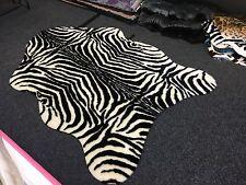Black & Cream Zebra Animal Safari Large Pelt Faux Fur Rug 150cm X 210cm