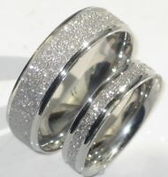 MENS OR WOMENS SPARKLEBLAST 6MM 4MM SPARKLE WEDDING RING BAND STR992 STEEL