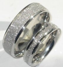 MENS OR WOMENS SPARKLEBLAST 6MM 4MM SPARKLE WEDDING RING BAND STR992 STEEL