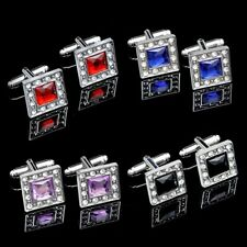 1Pair Luxury Silver Square Cufflinks Men's Wedding Party Shirt Suit Cuff Links