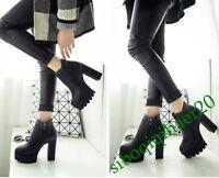 Fashion Womens Black High Block Heels Platform Punk Zip Ankle Boots Shoes Size