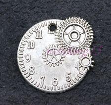 Tibetan silver Charms Clock and gear combination pendant 6-100pcs 22x20mm 2.g