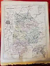 Old Map 1900 France Département Seine et Marne Provins Melun Coulommiers Rebais