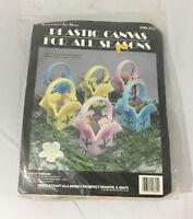 Needlecraft Ala Mode Yarn Canvas Kit! Baskets Candy Holders DIY Crafts Plastic