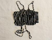 Zaful Womens Spaghetti Strap Striped Lace Up Front Crop Top BF5 Black Medium NWT