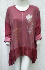 Neu - Damen Tunika - Gr. 50/52 - Langarm Shirt mit Print + Volant - Fashion