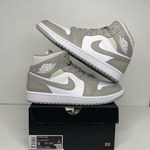 "Nike Air Jordan 1 Mid Retro ""Linen"" College Grey 554724-082 Men's 9/10.5W New"