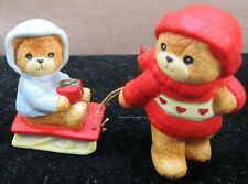 Vintage Enesco 1983 Lucy & Me Bears Boy Pulling Little Bear On A Sled