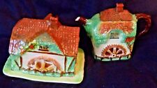 ROYAL WINTON GRIMWADES ART DECO YE OLDE MILL WATER MILL  TEAPOT & CHEESE DISH