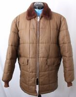 Westwind Vtg USA Faux Fur Collar Full Zip Quilted Puffer Jacket Coat Mens L