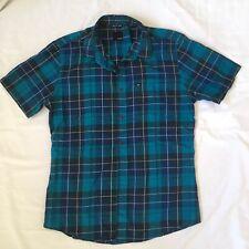 KR3W Mens SZ M Cotton Poly Blue Green Short Sleeve Button Short Sleeve Shirt